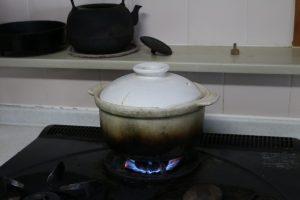土鍋で炊いているお米