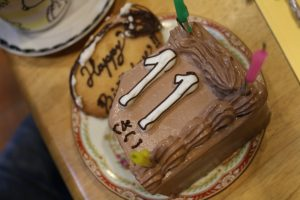 次女のケーキ11歳の飾り付き