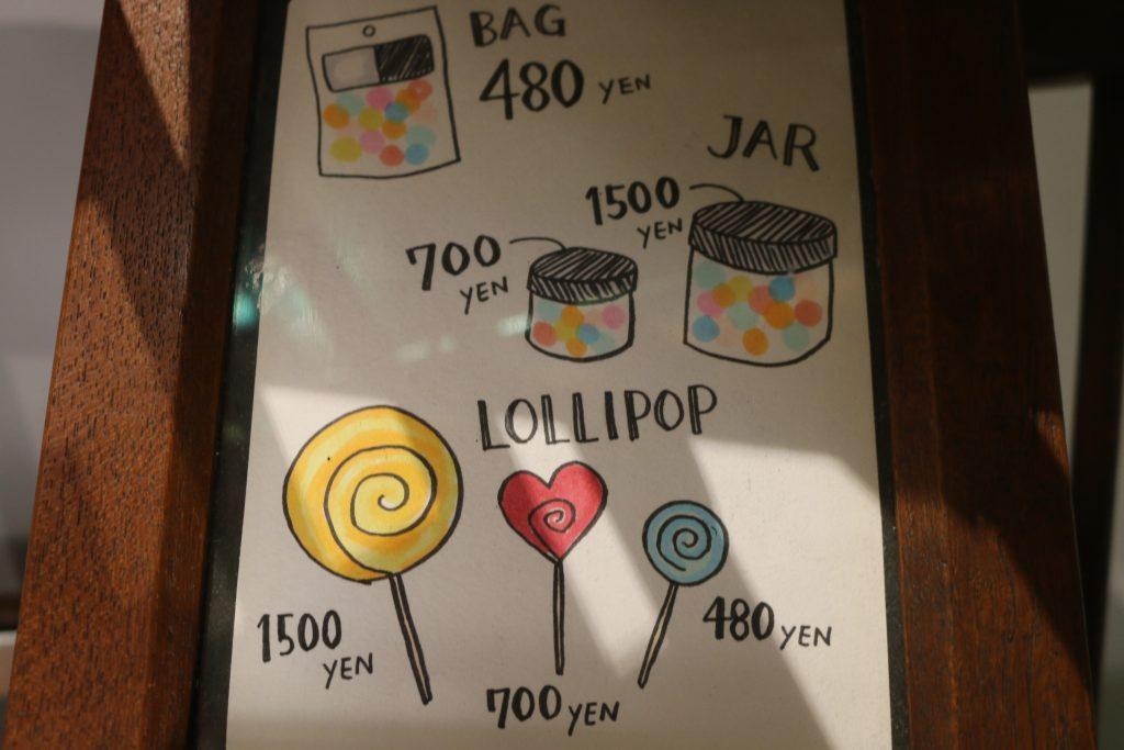 キャンディの値段の説明のかわいいイラスト