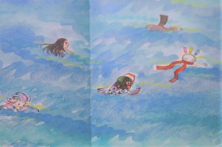 絵本の海水浴の場面