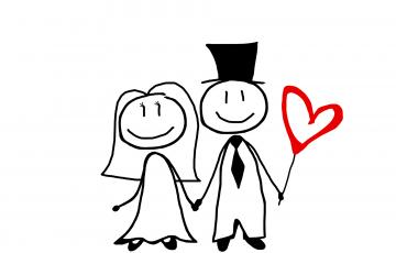結婚するカップルのイラスト