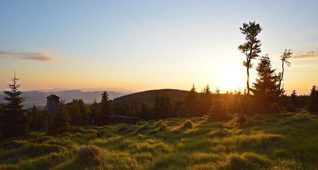 朝日が光り出す山の風景