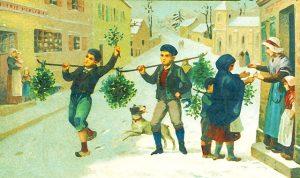 昔のクリスマスを描いた絵