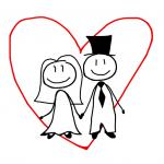 結婚するカップルの絵