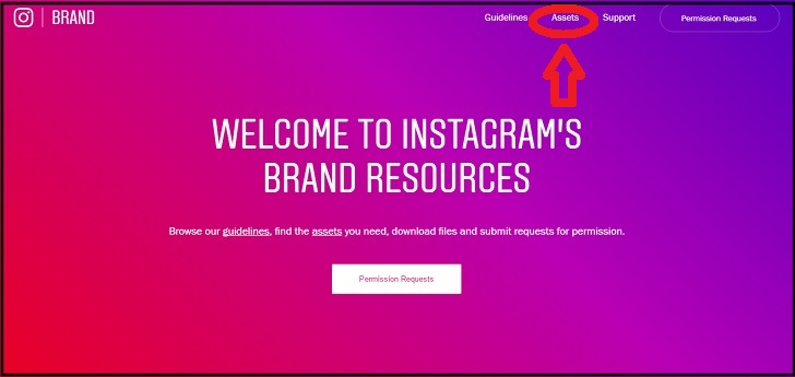 インスタグラムのブランドリソースページ