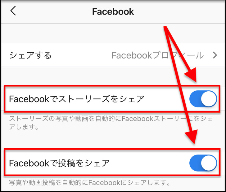 facebookで投稿をシェア