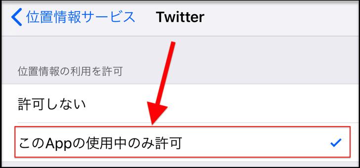 このAppを使用中のみ許可