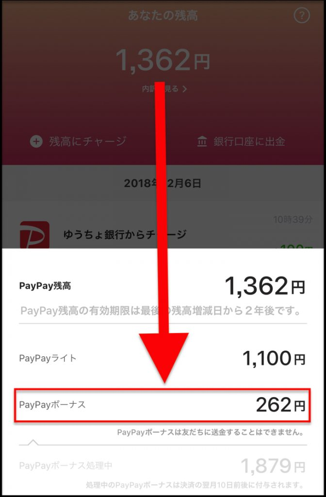 PayPayボーナス262円