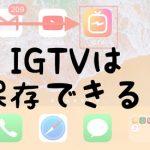 igtvは保存できる