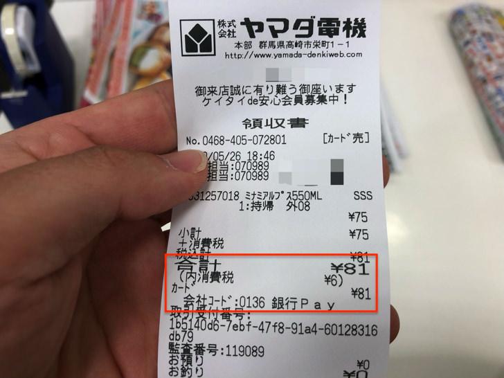 81円のレシート