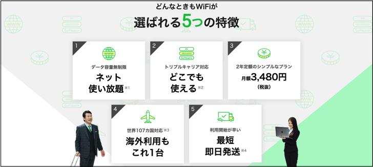 どんなときもWiFi選ばれる5つの特徴