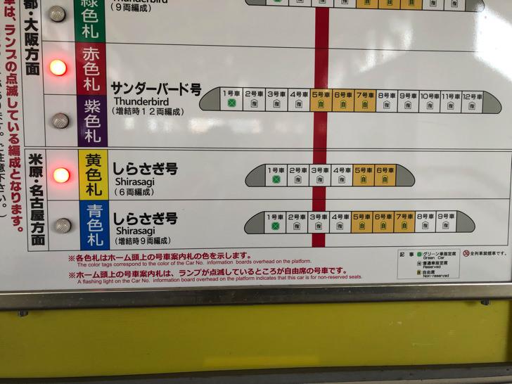 しらさぎ号のお知らせ黄色札