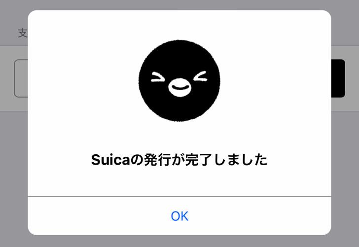 Suicaの発行が完了しました