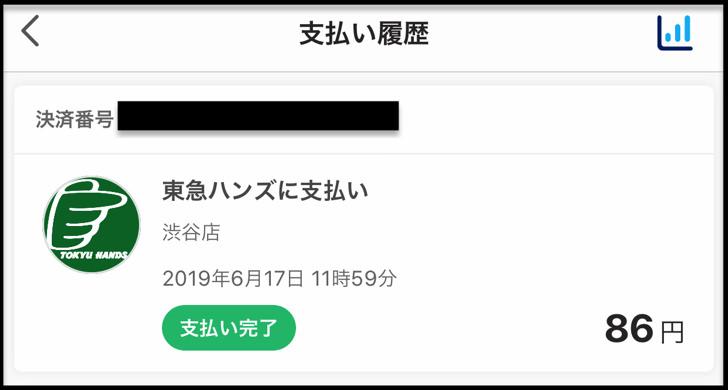 PayPay履歴ハンズ