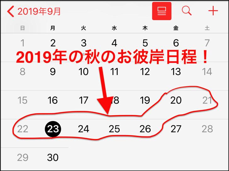 2019秋のお彼岸日程