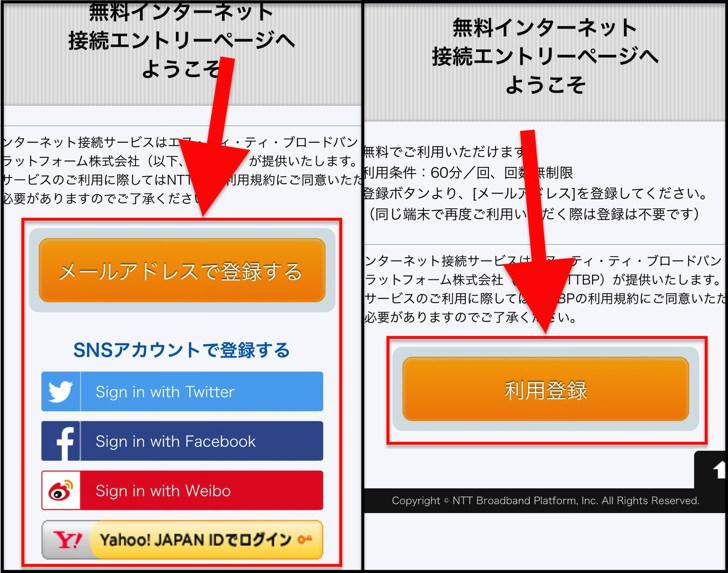 メールアドレス登録、利用登録