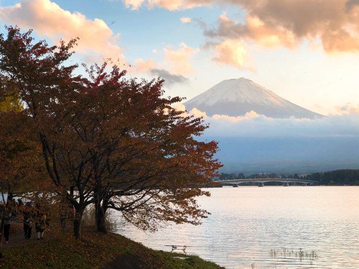 富士山と秋の河口湖