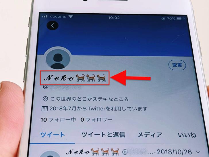 iPhone版ツイッターで名前表示