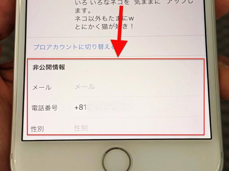 非公開情報(iPhone版インスタグラム)