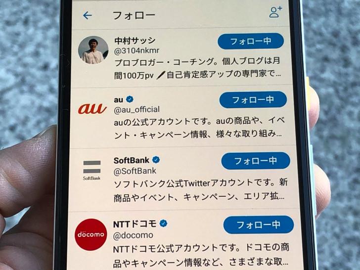 フォロー中のリスト(Twitter)